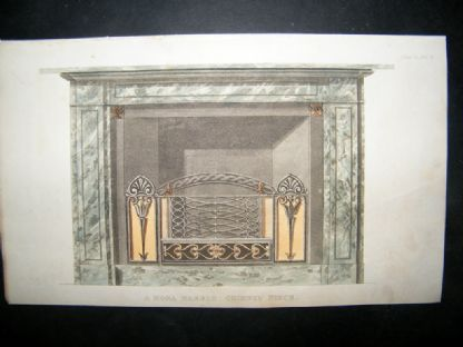 Ackermann 1816 Hand Col Decorative Print. Fireplace Mona Marble | Albion Prints